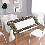 aolankaili Shabby Chic Tablecloth,an Ornate Antique Picture Frame on a White Background,Dining Room Kitchen Rectangular Table Cover