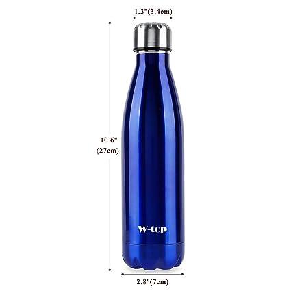 Botella de Agua Deportiva de Acero Inoxidable, W-top 500ml Doble Pared Aislada al Vacío Botella Térmica Perfecto para Deportes al Aire Libre Camping ...