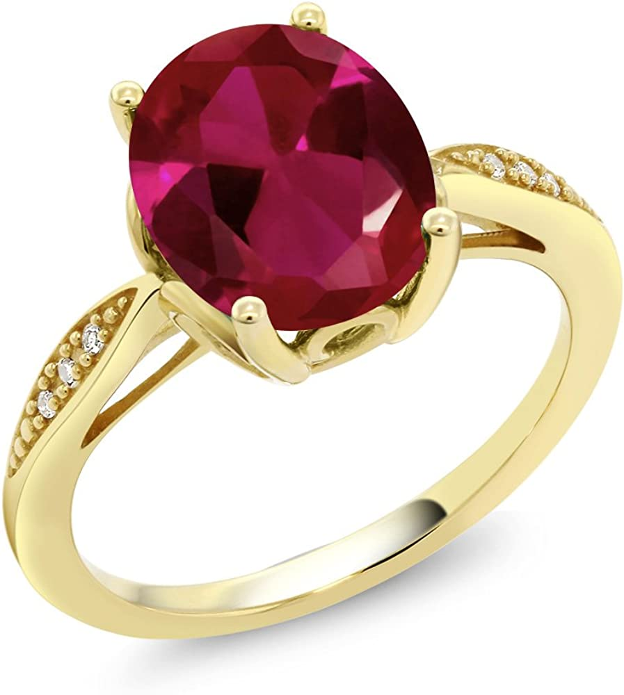 Gem Stone King 14K Yellow Gold Red Created Ruby and...