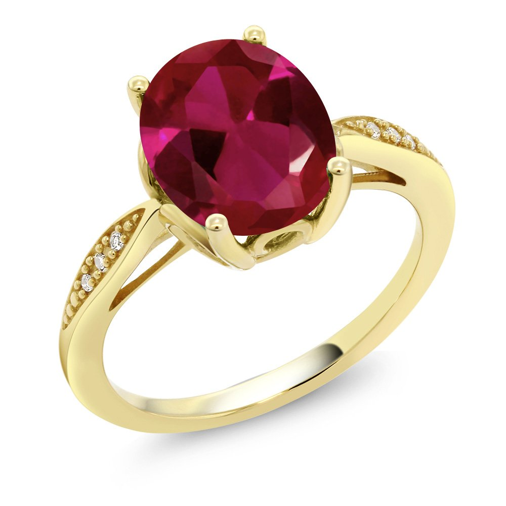 14K Yellow Gold 2.54 Ct Oval Red Created Ruby and Diamond Ring (Ring Size 7)