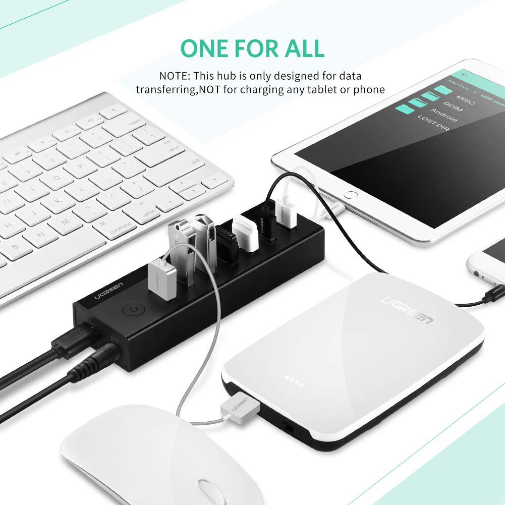 UGREEN 7-Port USB 3.0 Hub with 5V 2A AC Power Adapter for Mac, MacBook Pro Air, HP and Dell Laptop, USB Data Hub 3.0 Splitter Adapter with Power Switch and 3FT USB Cable by UGREEN (Image #3)