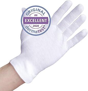 Dermatest: Excelente - Well B4® Care Guantes de algodón, guantes de hilo hechos de 100% algodón para su protección cuando tenga la piel seca, 3 pares, guantes blancos, XL: Amazon.es: Belleza