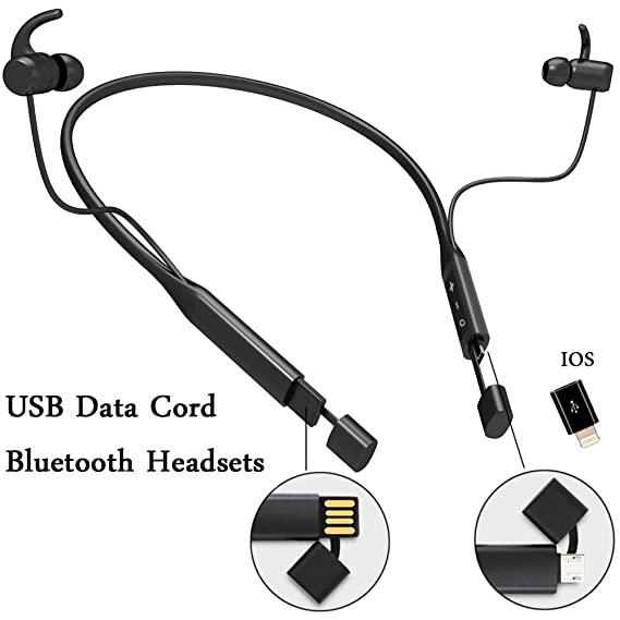 f3bd5d41d13 Neckband Headphones Wireless Bluetooth Headset Stereo Noise Cancelling Microphone  Earbuds with USB Data Cord In One