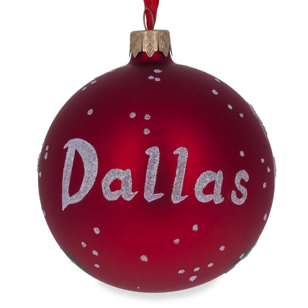 Texas Glass Ball Christmas Ornament 3.25 Inches K-692-80 BestPysanky Dallas