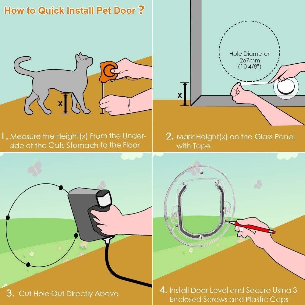 Puerta para Mascotas Peque?as para Gatos Perros Peque?os Ventana de Vidrio SODIAL Puerta Abatible para Gatos para Puerta Corrediza de Vidrio Puertas para Gatos con Cierre de 4 V/ías