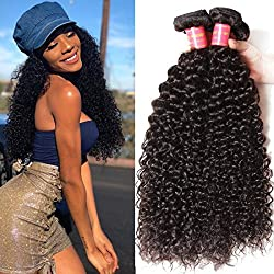 Klaiyi Hair Indian Virgin Human Hair 4 Bundles Grade 7A Good Quality Curly Hair Extensions Remy Sexy Crazy Curly Hair Weave Soft and Tangle Free 95-100g/bundle Natural Color(16 18 20 22inch)