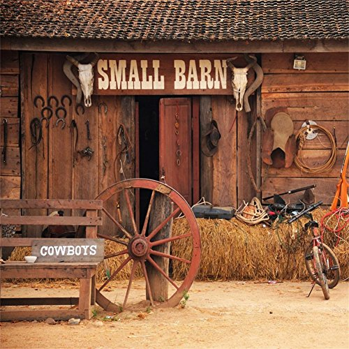 AOFOTO 7x7ft Vintage Rural Barn Backdrop Western Cowboy Haystack Photography Background Rustic Farm Tools Bike Old Wheel Hub Horseshoe Photo Studio Props West Style Adult Artistic Portrait Wallpaper