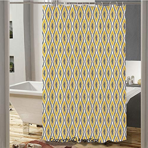 Oval and Double Ancient Zigzag Ikat Motifs Exotic Ethnic Japanese Culture Design Camping Shower Curtain(72