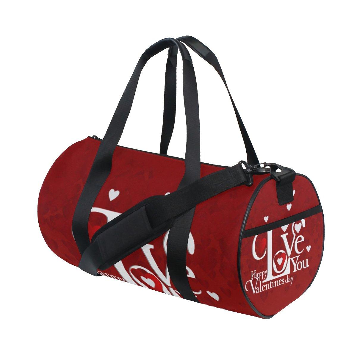 U LIFE Valentines Day Red Heart Love You Sports Gym Shoulder Handy Duffel Bags for Women Men Kids Boys Girls