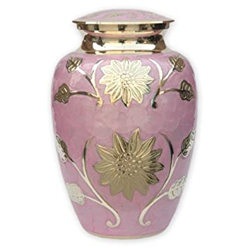 Pink Garden Cremation Urn by Beautiful Life Urns , Exquisite Funeral Urn  Etched with Stunning Gold Flowers (Large)