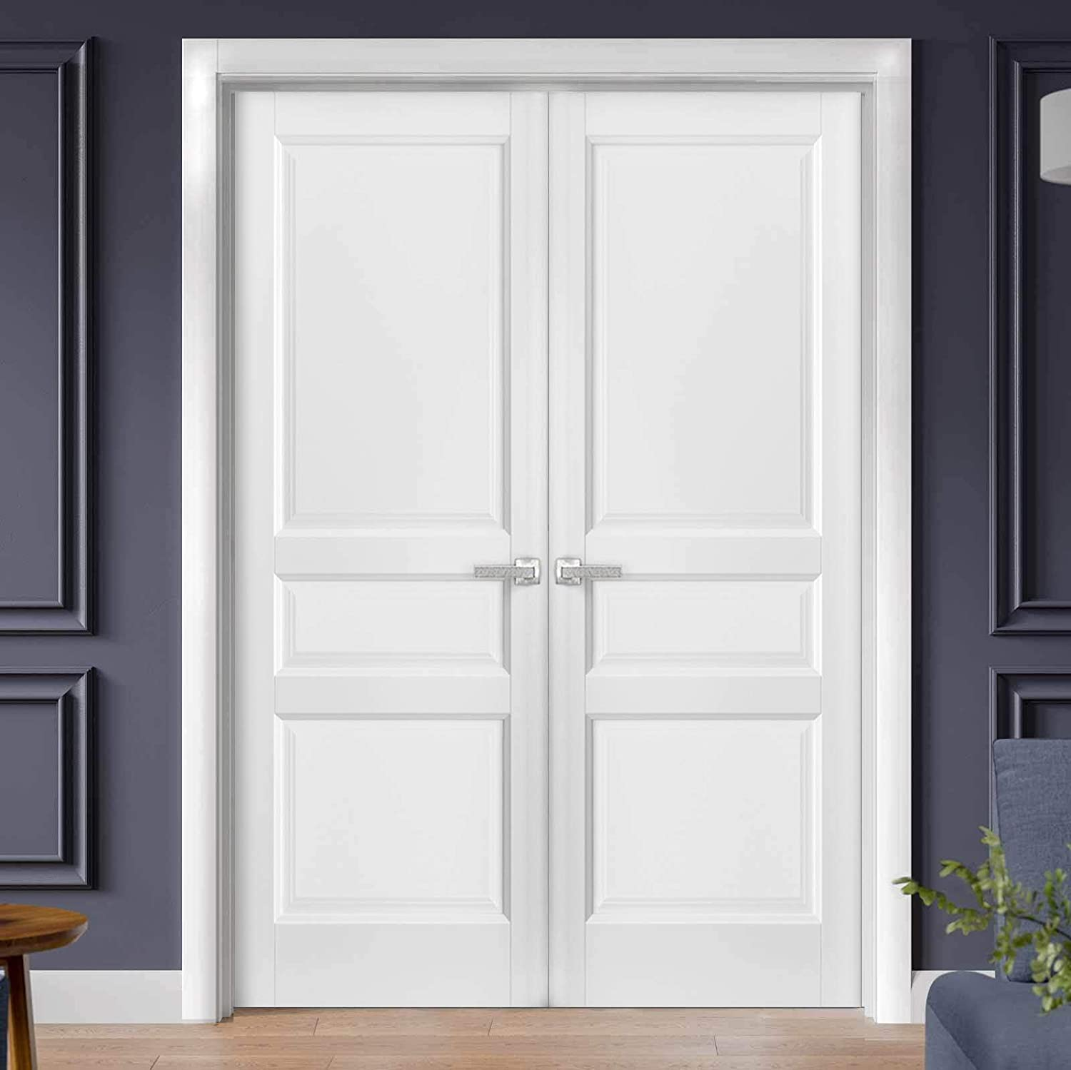 French Double Panel Solid Doors 36 x 80 with Hardware Lucia 31 Matte White Bathroom Bedroom Interior Sturdy Door Pre-Hung Panel Frame Trims