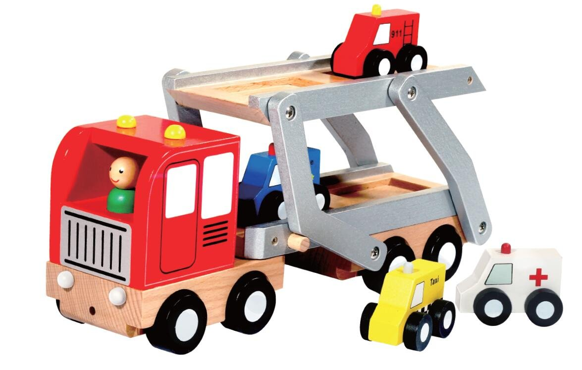 Trucks- Wooden Service Car Carrier - Perfect for Children Who Love Fire trucks, Police Cars, Taxi and Ambulance- Help Your Child Learn & Develop Through Play!
