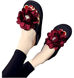 d08953337ab56 Flyrioc Womens Plumeria Flower High Platform Wedge Flip Flop Thong Sandals