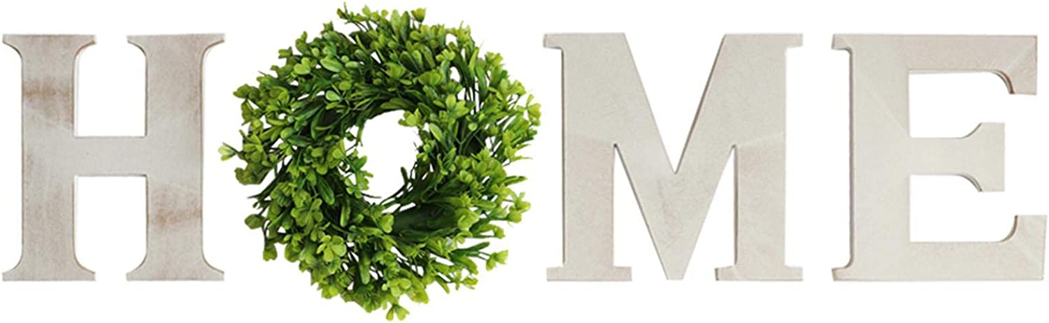 Wall Hanging Wood Home Sign with Artificial Eucalyptus for O Rustic Wooden Home Letters Decorative Wall Decor Signs for Living Room House, Wooden Letter Sign with Green Wreath for Wall Home Decor