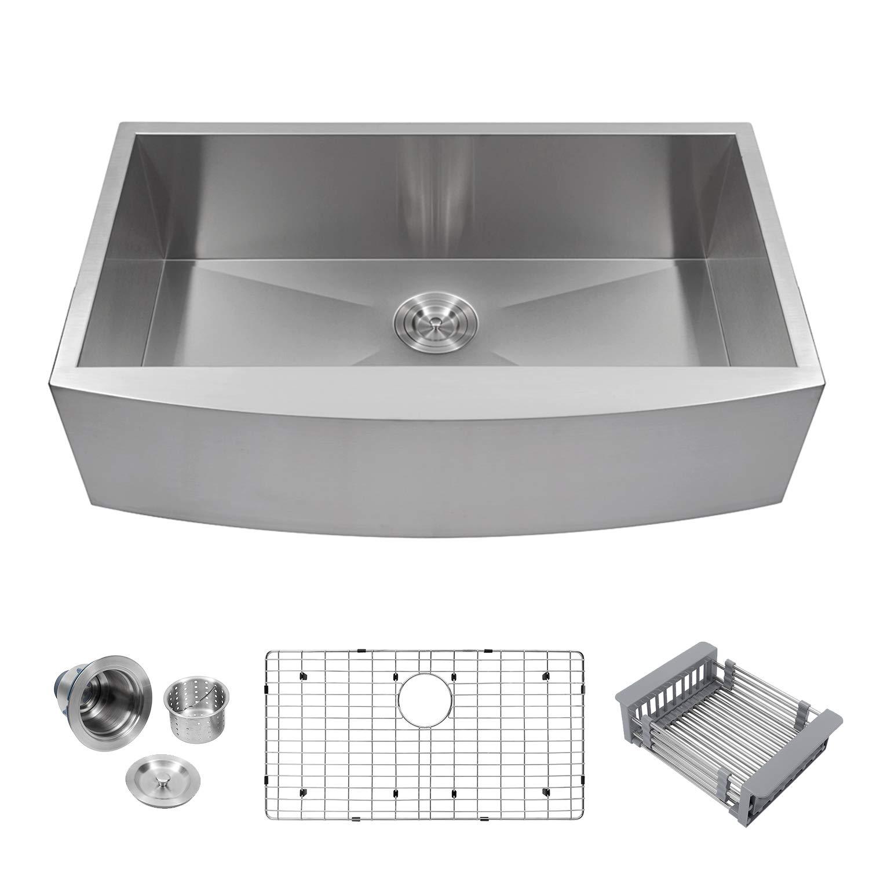 Logmey LMA3320 Luxury 33 Inch Farmhouse Apron Deep Single Bowl 18 Gauge Stainless Steel Kitchen Sink