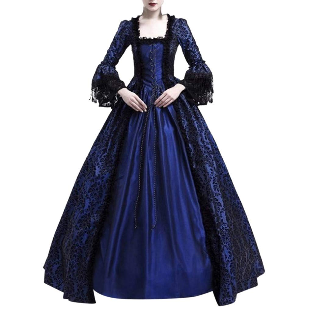 Sunyastor Women Renaissance Gothic Dark Queen Dress Ball Gown Steampunk Medieval Party Princess Cosplay Halloween Costume Navy