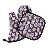 Purple Sugar Skulls Oven Mitt & Pot Holder Set - Handmade