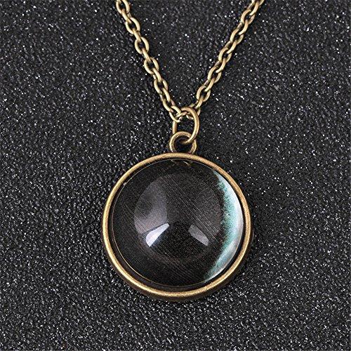 Crescent Glass Pendant (Meenanoom Glow In Dark Full Moon crescent Glass Ball Pendant Luminous Women Necklace)