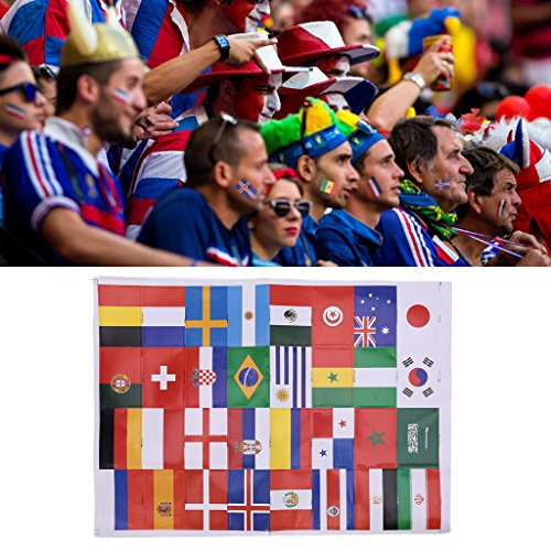 Shaoge 2018 Russia World Cup 32 National Flag Sticker Cheer Soccer Football Face Arm (Russian National Dance Costumes)