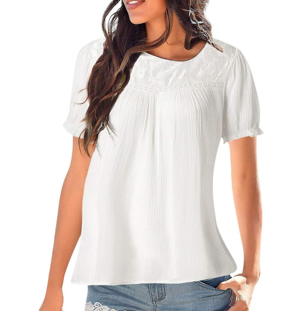 Women's T-Shirt, JHKUNO Fit Tee Short Sleeve Lace Patchwork Shirts Plain Pleated Tank Loose Blouse White