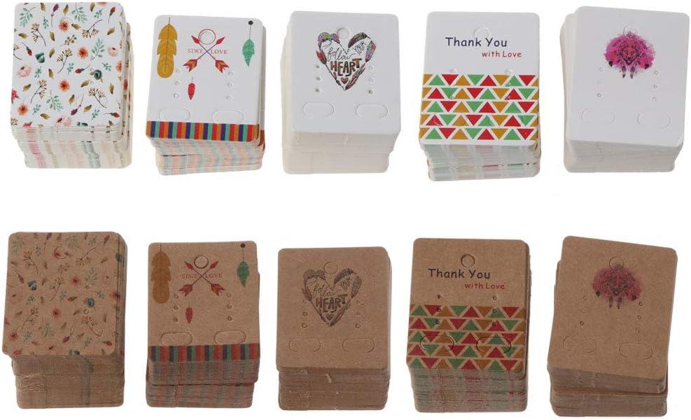 KUKALE Jewelry Organizer,100Pcs Flower Tree Kraft Paper Drop Earrings Card Studs Display Jewelry Holder