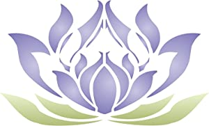 Lotus Flower Stencil, 11 x 6.5 inch (S) - Stylized Oriental Asian Lotus Bloom Stencils for Painting Template