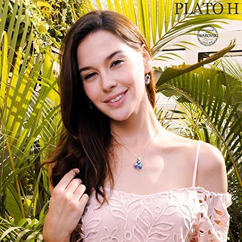 Swarovski Element Necklace Color Changing Crystal Rose Love Pendant Necklace for Women, Birthday Birthstone Jewelry Gifts for Girl, Amethyst Purple Pink, 18'' by PLATO H (Image #4)