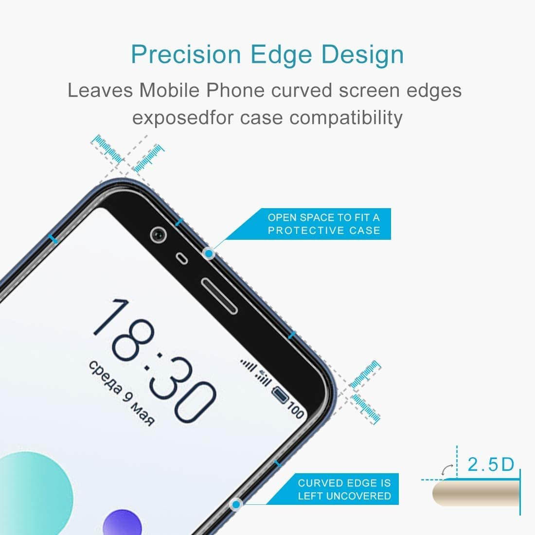 ZYS Screen Protector 100 PCS 0.26mm 9H 2.5D Explosion-Proof Tempered Glass Film for Meizu M8c