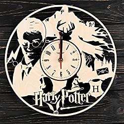 7Arts Wooden Clock Potter at The School of Magic – Decorative Wall Clock Made from Eco Wood with Silent Quartz Movement and Autonomous Power Source - Can be Painted, Great Gift Idea