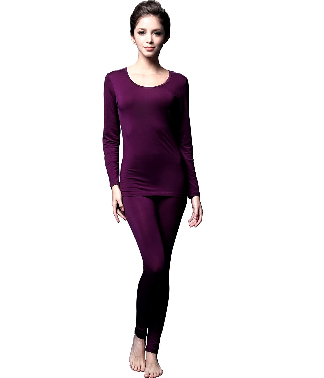 Feelvery Women's Natural Soft Tencel Long Johns Top & Bottom Thermal Underwear Set