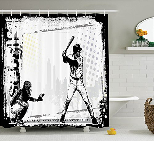 Ambesonne Sports Decor Collection, Baseball Themed American Sport Team Rustic Design Silhouette Illustration Image, Polyester Fabric Bathroom Shower Curtain Set with Hooks, Black and White (Curtain Bathroom Team Shower)