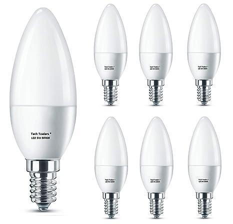 Bombillas LED E14 para velas, Tech Traders C37 E14, 6000 K, luz blanca fría, 5 W, ...