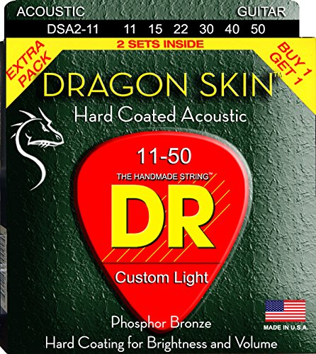 DR Strings DSA-2/11 Dragonskin Clear Coated Phosphor Bronze Acoustic Guitar Strings Value Pack