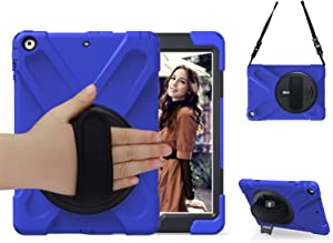 iPad Air Case, TSQ Heavy Duty Full Body Rugged Hybrid Rubber Protective Cover with 360 Degree Swivel Stand, Hand Grip & Shoulder Strap for Apple Tablet Air 1st Gen Skin for Kids Clildren Boys Blue