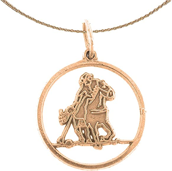 Jewels Obsession Horseshoe Necklace 14K Rose Gold-plated 925 Silver Horseshoe Pendant with 16 Necklace