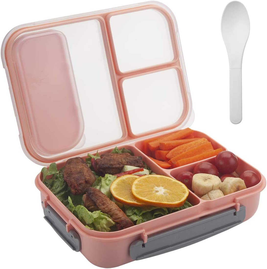 Freshmage Lunch Box Containers for Kids, Adult, Food Meal Prep Containers Leak-proof with 3 Compartments Dividers and Spoon -- Pink