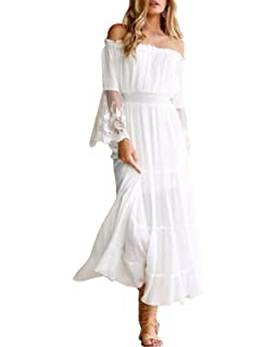 a0b69500353 KENANCY Women Chiffon Off Shoulder Boho Maxi Dress Long Sleeve Summer Beach Dress  White