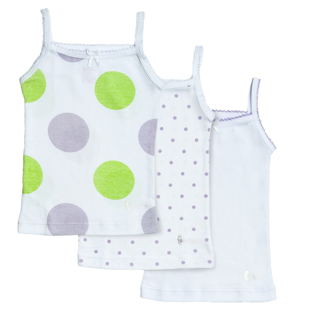 Feathers Girls Polkadot Print Tagless Cami Super Soft Undershirts (3/Pack)
