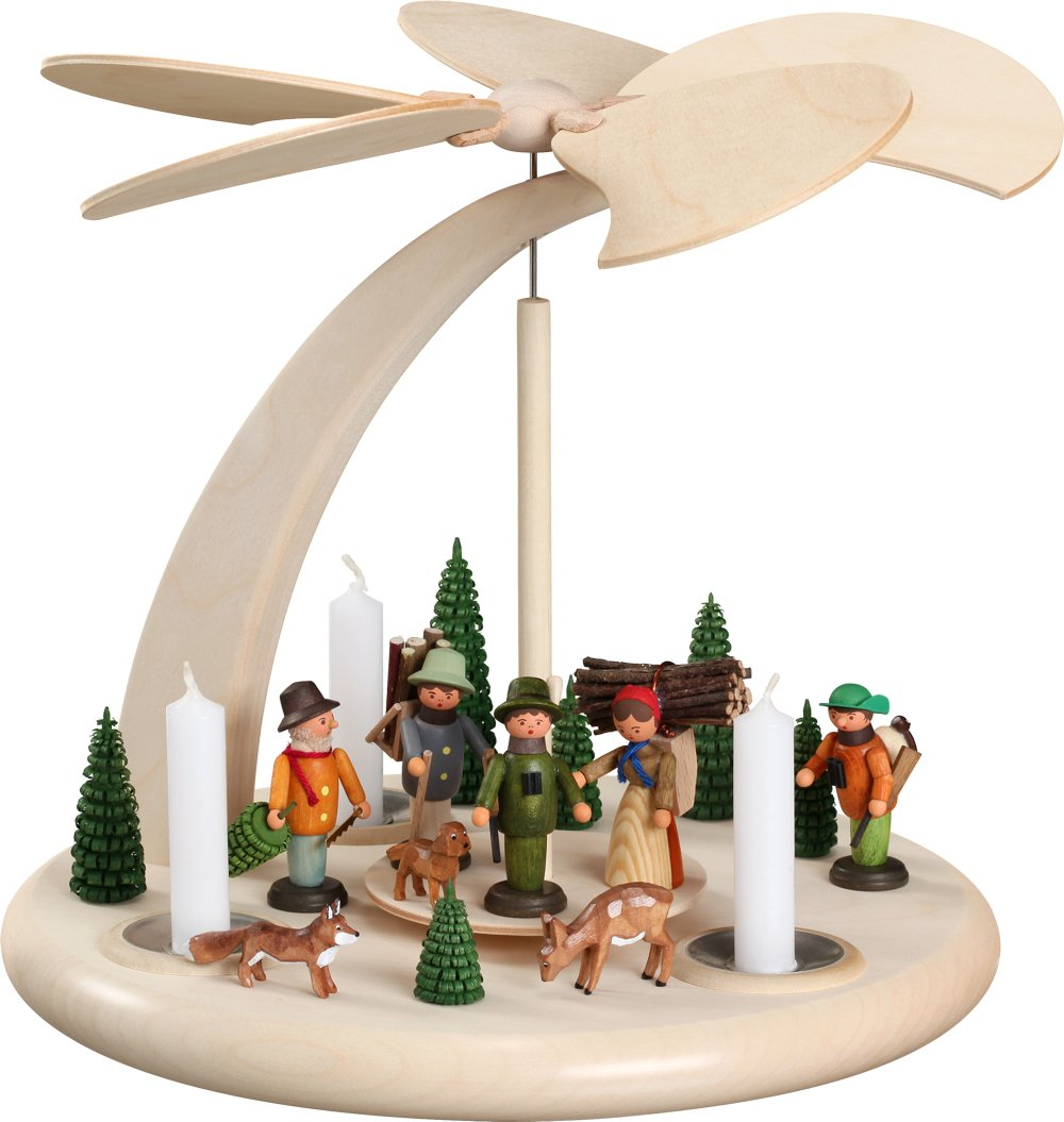 Seiffener Volkskunst German christmas pyramid forest people, 1-tier, height 25 cm / 10 inch, natural, original Erzgebirge by