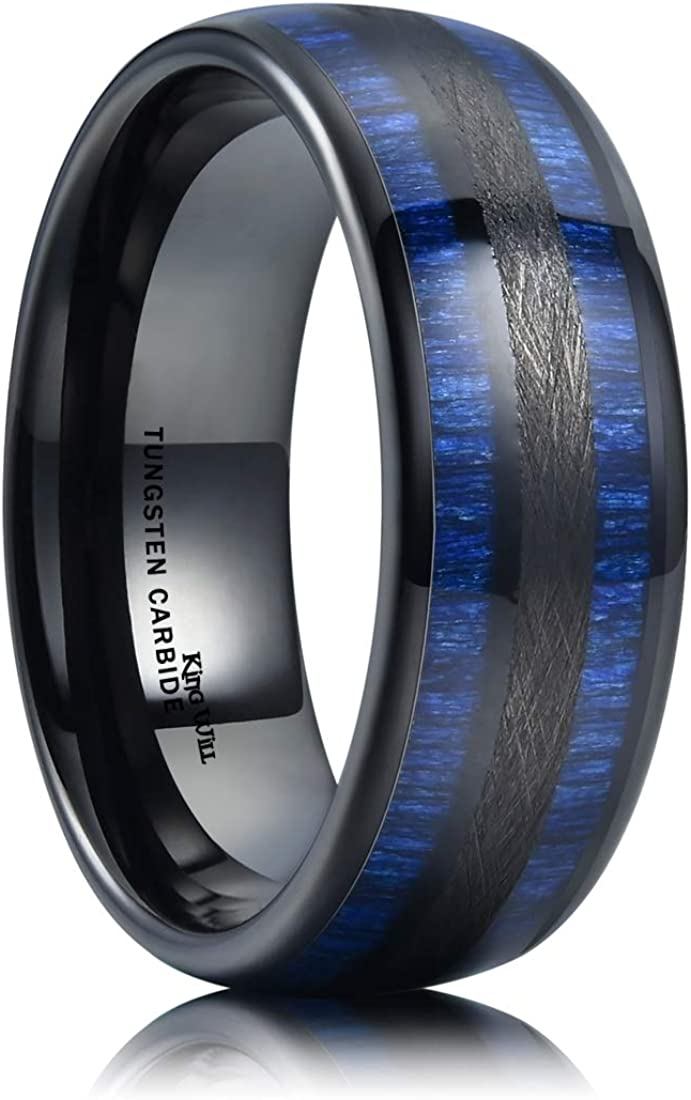 King Will Nature 8mm Mens Domed Blue Maple Inlay Black Tungsten Carbide Ring Brushed Wedding Band