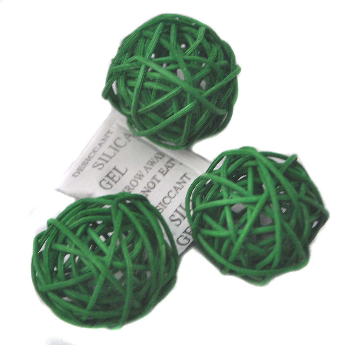 Ougual Set of 6 Wicker Rattan Balls Table Wedding Party Christmas Decoration (Diameter 8cm, Grass Green)