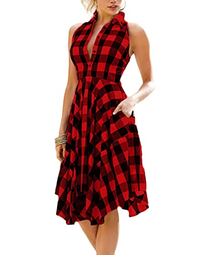 ZKESS Women Sleeveless Side Pockets Plaid Pleated Casual Shirt Dress
