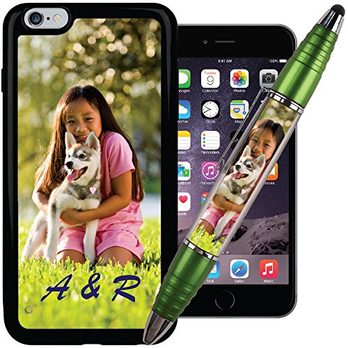 Lime PixStylus & iPhone 6 Plus PixCase - Make A Personalized Set - Just Insert Photos or Design Your own Inserts Online - Combination Pen/Stylus paired with a Shock Absorbing case