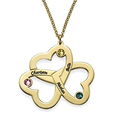 9337677d2 Amazon.com: Personalized Triple Heart Birthstones Necklace in Gold Plating  - Jewelry for Mother Mom - Engraved with Any Name: Jewelry