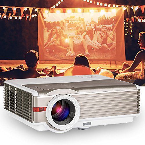 LED Projector 4200 Lumens - Home Theater Cinema Movies Video Games Indoor Outdoor- Dual HDMI USB VGA Support 1080P 720P- for TV PC Laptop Smartphone DVD by EUG