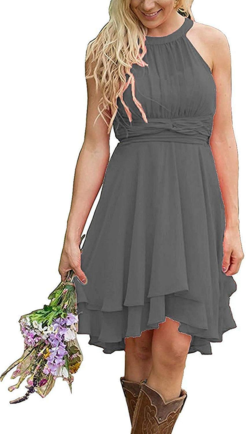 Andybridal Womens Country High Low Halter Chiffon Bridesmaid Dress Western Wedding Guest Dress