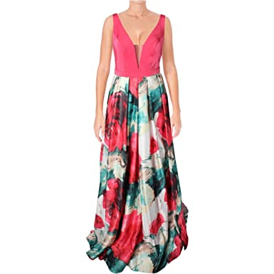 72adf077963 Glamour by Terani Couture Womens Sateen Illusion Formal Dress Pink 4 ...