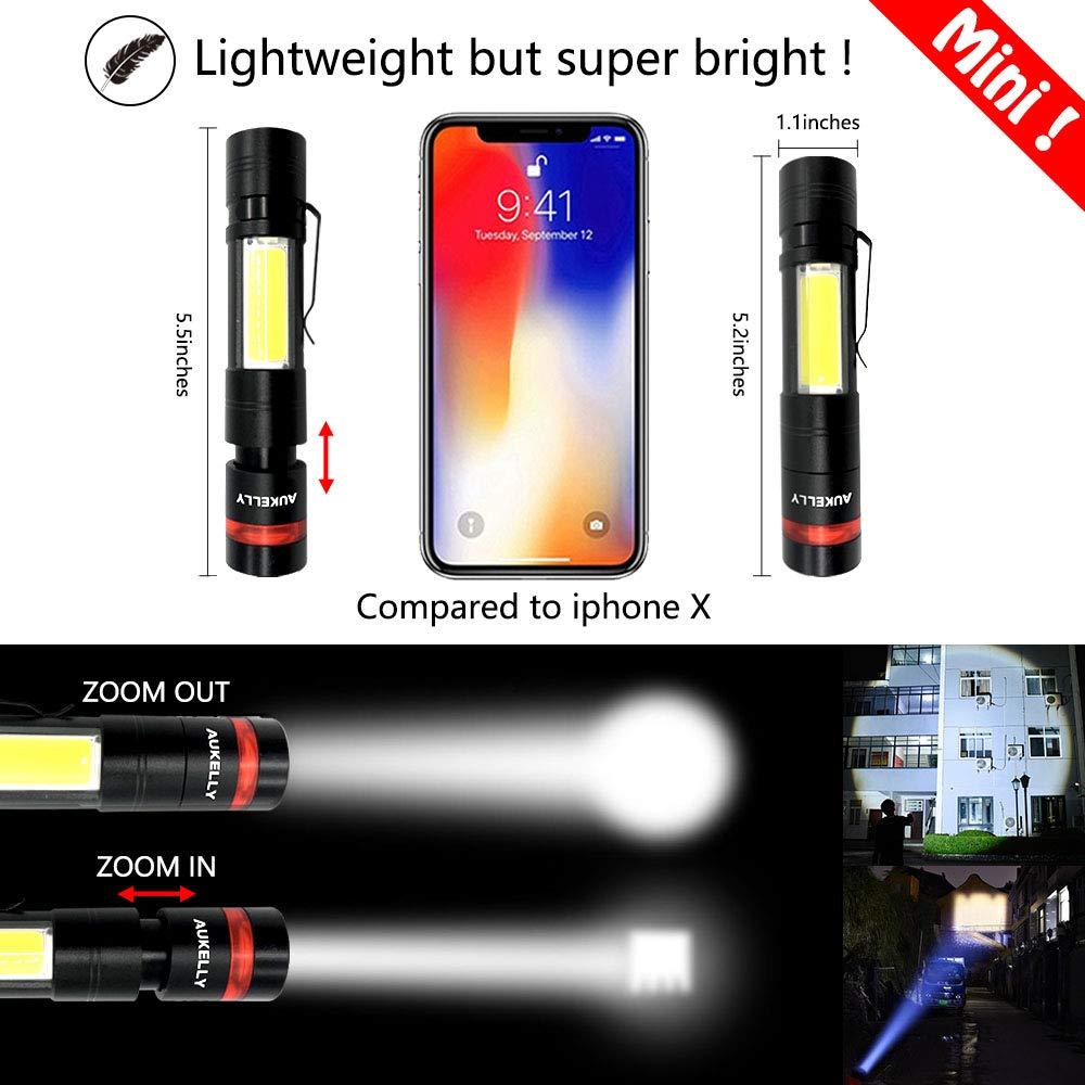 Aukelly Lampe Torche LED Lampe de Poche Rechargeable Lampe Torche Tactique LED Ultra Puissante Lampe de Poche Chargeur,1000 Lumen,5 Modes,Zoomable,Batterie 18650 Int/égr/ée