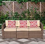 PATIOROMA 3-Seater Seating Patio Furniture Sofa All-Weather Brown PE Wicker Furniture with Beige Back Cushions & Seat Cushions| Patio, Backyard, Pool,Indoor|Steel Frame For Sale