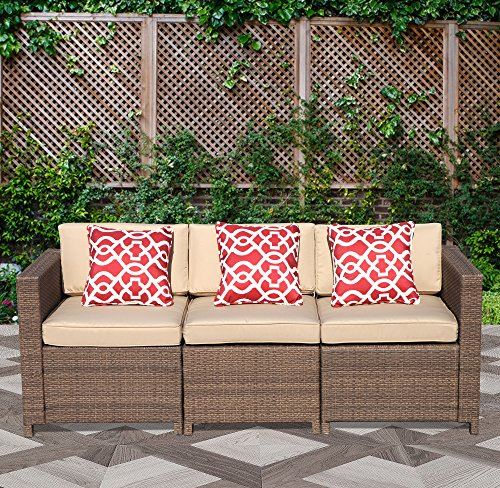 PATIOROMA 3-Seater Seating Patio Furniture Sofa All-Weather Brown Wicker Furniture with Beige Back Cushions & Seat Cushions| Patio, Backyard, Pool,Indoor|Steel - Cushion Sofa Seater Back